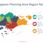 Singapore Map with five regions, 55 urban planning areas and planning area subzones