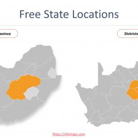 Free State Map with districts and municipalities boundaries, Nelson Mandela Bay Municipalit Buffalo City Municipality
