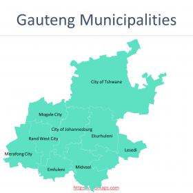 Gauteng Map with districts and Ward maps of four metropolitan municipalities