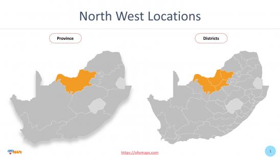 North West Map with districts and municipalities boundaries, Ward maps of Mafikeng Municipality