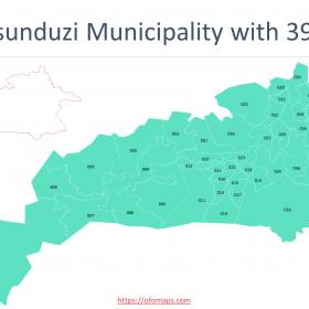 KwaZulu-Natal Map with districts and municipalities boundaries, Ward maps of two metropolitan municipalities