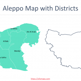 Aleppo Map with districts, governorate outline